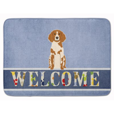 Brittany Spaniel Welcome Memory Foam Bath Rug