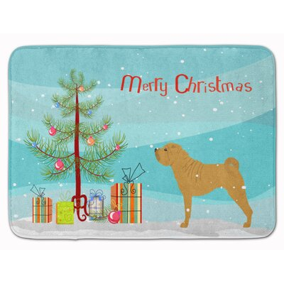 Shar Pei Merry Christmas Tree Memory Foam Bath Rug