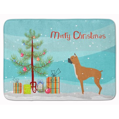 Boxer Merry Christmas Tree Memory Foam Bath Rug