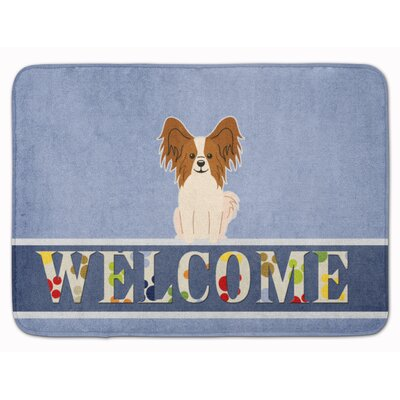 Papillon Sable Welcome Memory Foam Bath Rug Color: Red/White