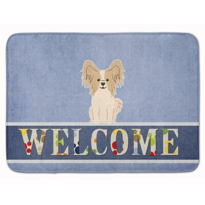 Papillon Sable Welcome Memory Foam Bath Rug Color: Sable/White