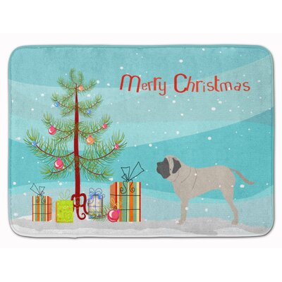 English Mastiff Merry Christmas Tree Memory Foam Bath Rug