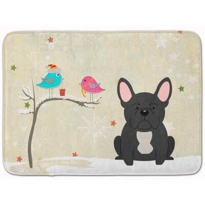 Christmas French Bulldog Memory Foam Bath Rug