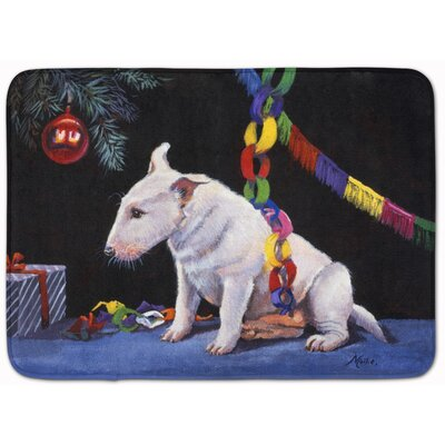 Bull Terrier Under the Christmas Tree Memory Foam Bath Rug