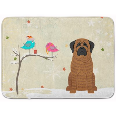 Christmas Presents Mastiff Brindle Memory Foam Bath Rug