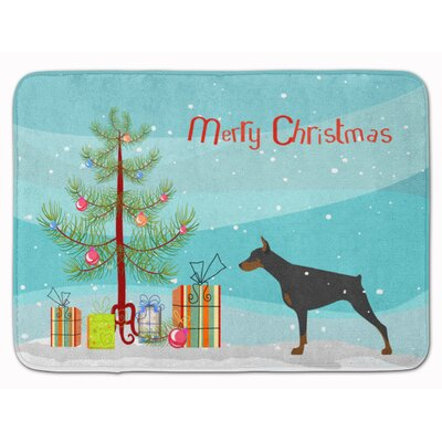 Doberman Pinscher Merry Christmas Tree Memory Foam Bath Rug
