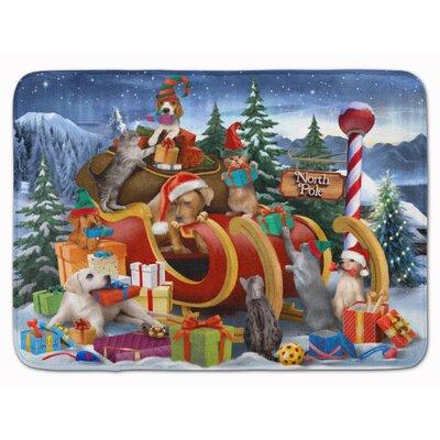 Animals Opening Christmas Presents Memory Foam Bath Rug
