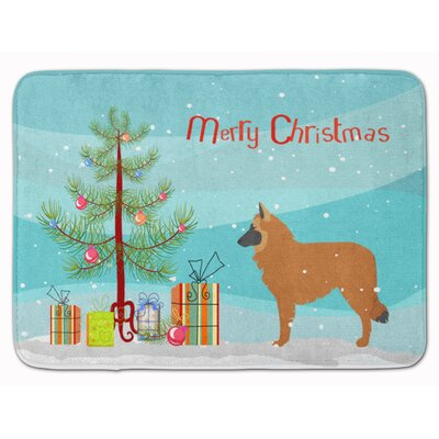 Belgian Shepherd Merry Christmas Tree Memory Foam Bath Rug