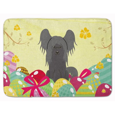 Easter Eggs Chinese Crested Memory Foam Bath Rug Color: Black