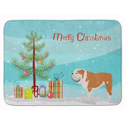 English Bulldog Merry Christmas Tree Memory Foam Bath Rug