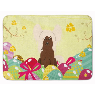 Easter Eggs Chinese Crested Memory Foam Bath Rug Color: Cream
