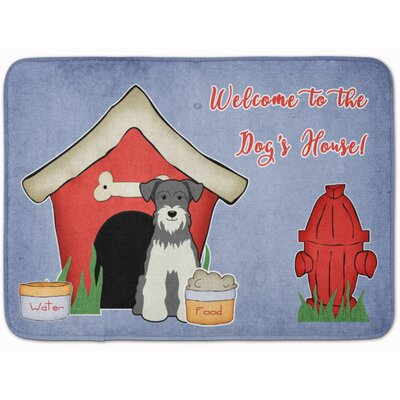 Dog House Miniature Schanuzer Memory Foam Bath Rug Color: Gray/White