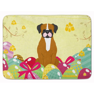 Easter Eggs Boxer Cooper Memory Foam Bath Rug Color: Brown/White