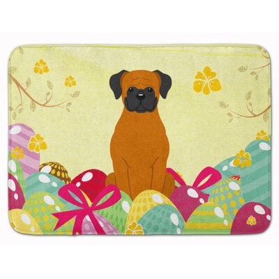 Easter Eggs Boxer Cooper Memory Foam Bath Rug Color: Orange