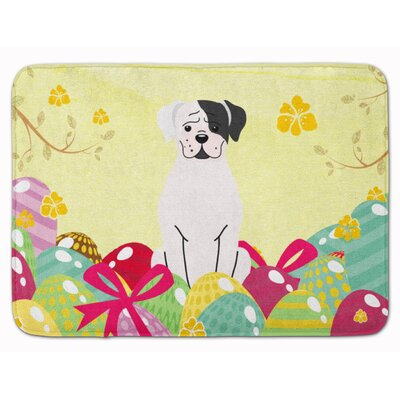 Easter Eggs Boxer Cooper Memory Foam Bath Rug Color: White