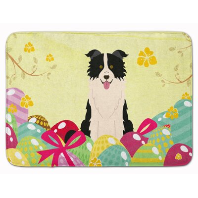 Easter Eggs Border Collie Memory Foam Bath Rug Color: Black/White
