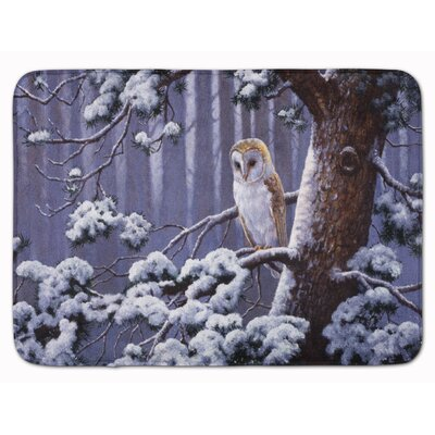 Owl on a Tree Branch in the Snow Memory Foam Bath Rug