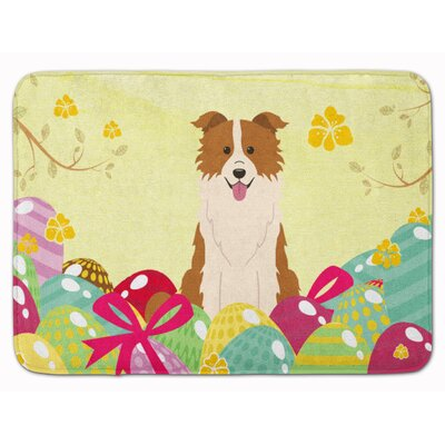 Easter Eggs Border Collie Memory Foam Bath Rug Color: Red/White