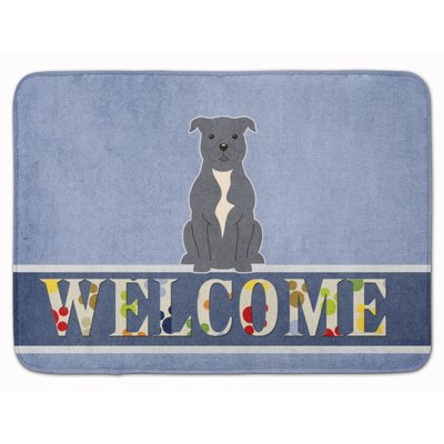Staffordshire Bull Terrier Welcome Memory Foam Bath Rug Color: Blue