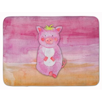 Pig Watercolor Memory Foam Bath Rug
