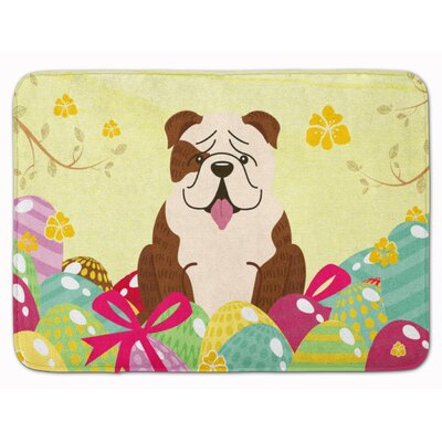 Easter Eggs English Bulldog Brindle Memory Foam Bath Rug