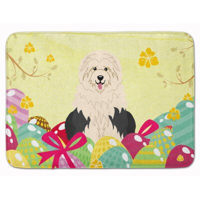 Easter Eggs Old English Sheepdog Memory Foam Bath Rug