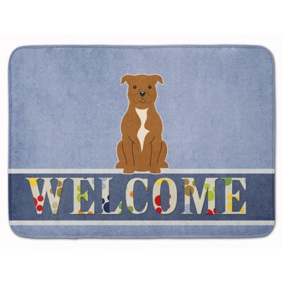 Staffordshire Bull Terrier Welcome Memory Foam Bath Rug Color: Brown