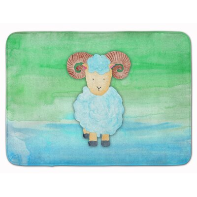 Ram Sheep Watercolor Memory Foam Bath Rug