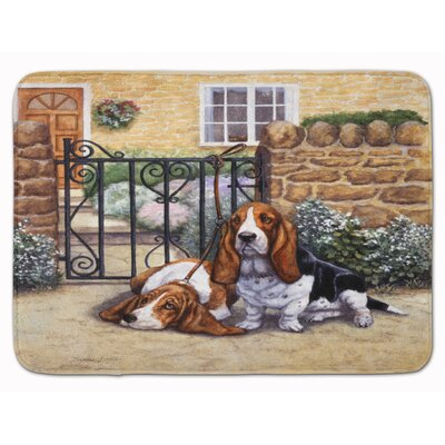 Basset Hound at the gate Memory Foam Bath Rug