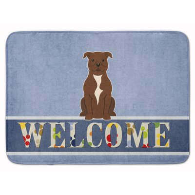 Staffordshire Bull Terrier Welcome Memory Foam Bath Rug Color: Chocolate