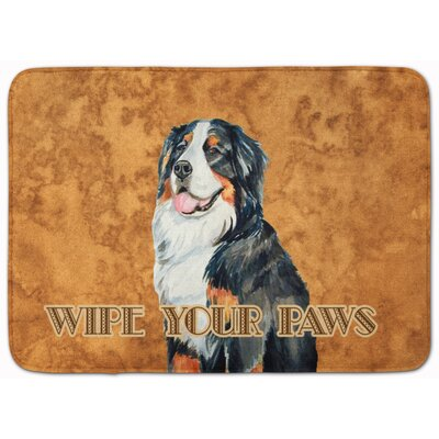 Bernese Mountain Dog Wipe Your Paws Memory Foam Bath Rug