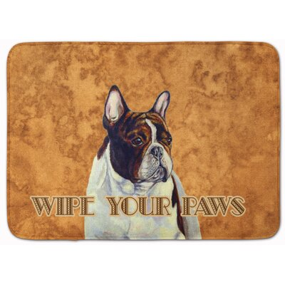 Central French Bulldog Wipe Your Paws Memory Foam Bath Rug