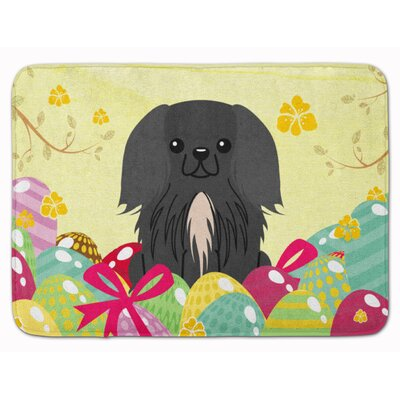 Easter Eggs Pekingese Memory Foam Bath Rug Color: Black