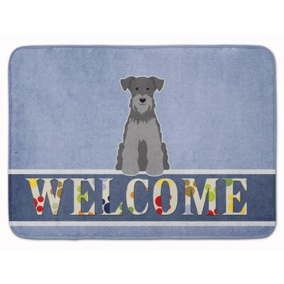 Miniature Schanuzer Welcome Memory Foam Bath Rug Color: Black/Silver