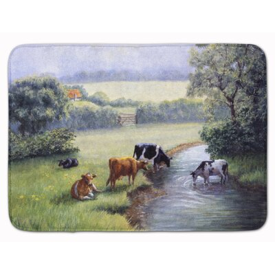 Cows Drinking at the Creek Bank Memory Foam Bath Rug