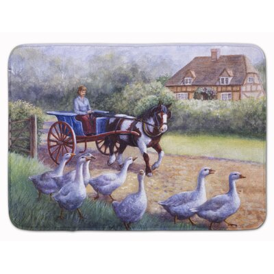 Geese Crossing before the Horse Memory Foam Bath Rug