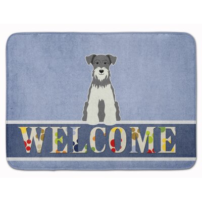 Miniature Schanuzer Welcome Memory Foam Bath Rug Color: Salt/Paper
