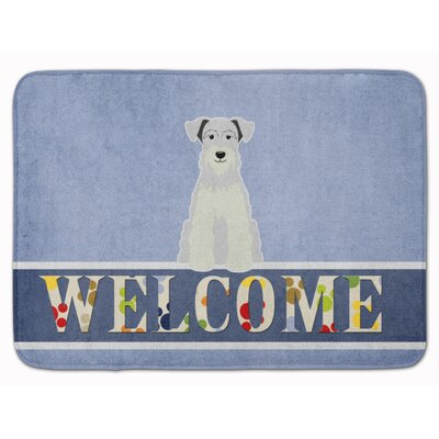 Miniature Schanuzer Welcome Memory Foam Bath Rug Color: White