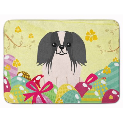 Easter Eggs Pekingese Memory Foam Bath Rug Color: Black/White