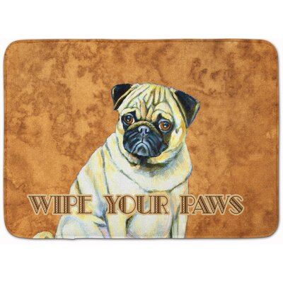 Fawn Pug Wipe Your Paws Memory Foam Bath Rug