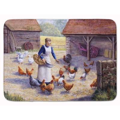 Levi Chicken Hen Feeding Time Memory Foam Bath Rug