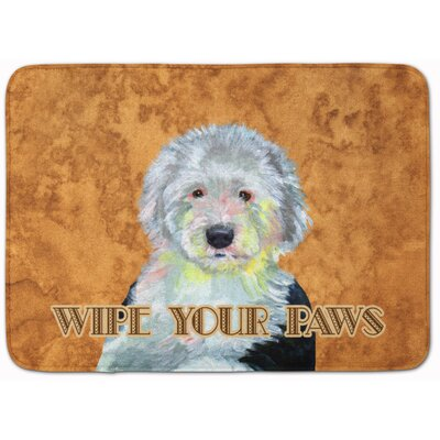 Old English Sheepdog Wipe Your Paws Memory Foam Bath Rug