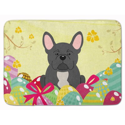 Easter Eggs French Bulldog Memory Foam Bath Rug Color: Black
