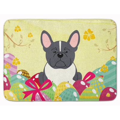 Easter Eggs French Bulldog Memory Foam Bath Rug Color: Black/White