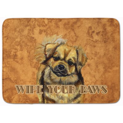 Tibetan Spaniel Wipe Your Paws Memory Foam Bath Rug