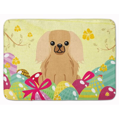 Easter Eggs Pekingese Memory Foam Bath Rug Color: Brown