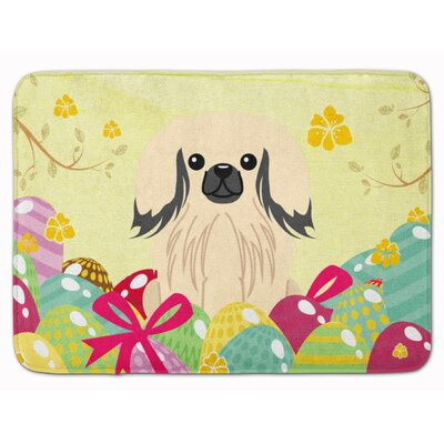 Easter Eggs Pekingese Memory Foam Bath Rug Color: Cream