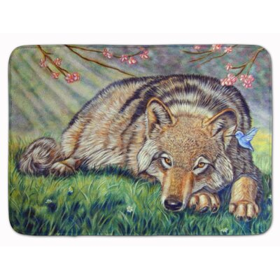 Wolf and Hummingbird Memory Foam Bath Rug