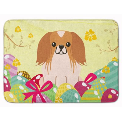 Easter Eggs Pekingese Memory Foam Bath Rug Color: Red/White