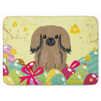 Easter Eggs Pekingese Memory Foam Bath Rug Color: Tan